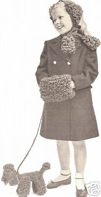 Vintage Crochet Poodle Hat Scarf Muff Toy Dog pattern #VintageHomeArts