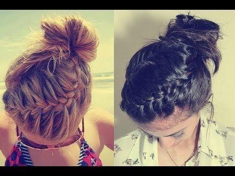 New Hair Styles for Girls: Braided Bun Updo Tutorial for long and medium hair