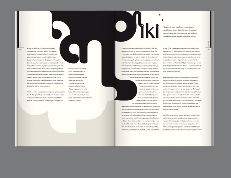 An interesting layout design where the text fits around the ink-like illustration.
