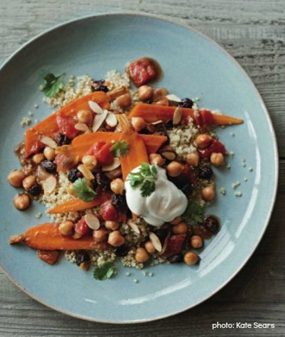 Braised Carrots and Chickpeas with Yogurt Topping | Kristine KiddKate Seared, Braies Chickpeas, Weeknight Recipe, Gluten Free Recipe, Mental Health, Carrots Salad, Yahoo Health, Gluten Free Dinner, Dinner Recipe