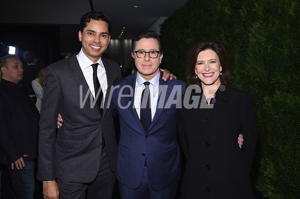 Chief Curator of Film for MoMA Rajendra Roy, Stephen Colbert and Evelyn McGee-Colbert attend the MoMA Film Benefit presented by CHANEL, A Tribute To Tom Hanks at MOMA on November 15, 2016 in New York City. (Photo by Dimitrios Kambouris/WireImage)