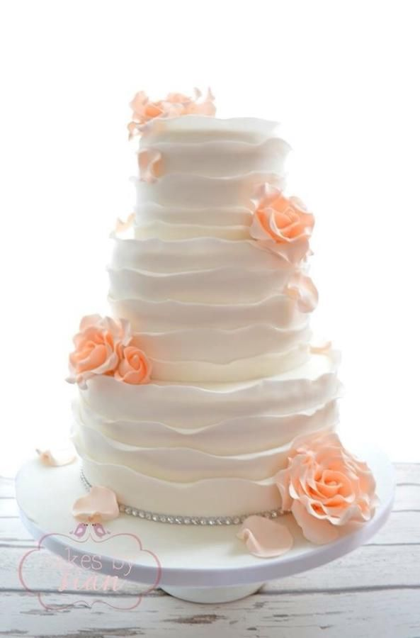 Rustic ruffles wedding cake by Cakes by Sian - http://cakesdecor.com/cakes/211439-rustic-ruffles-wedding-cake