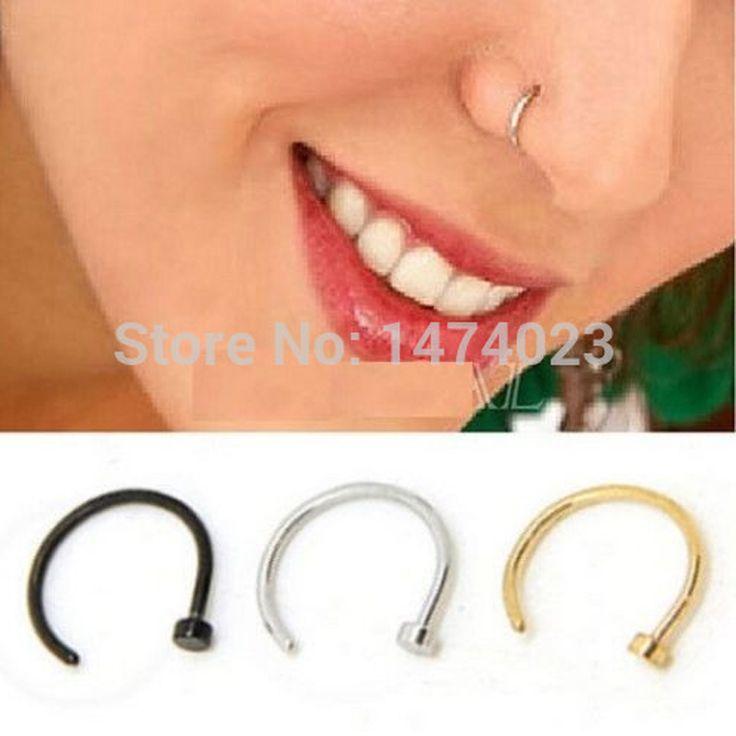 FD737 Titanium Silver Black Gold Nose Hoop Ring Earring Body Piercing fake nose septum 1.0*10mm