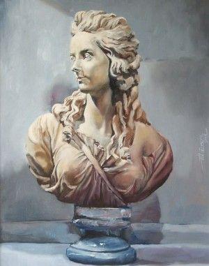 Elisabeth Vigée Lebrun, study on Pajou 40cm x 50cm. Oil on board. From a sculpture by Augustin Pajou – 1783 -. Phillip Carrero.