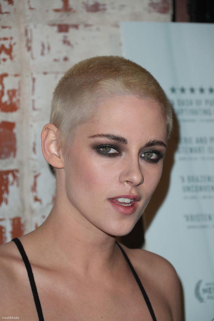 Kristen Stewart with bleached blonde buzz cut.