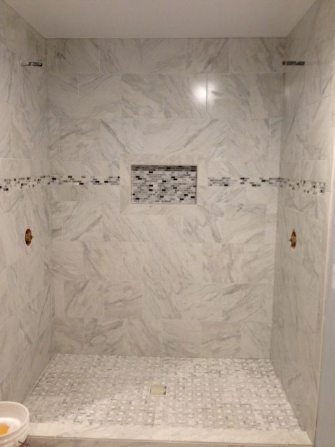 """my shower is almost finished!! Porcelain """"marble"""" tile ..."""