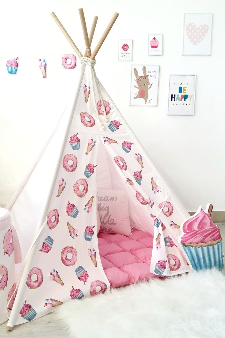 Pink girls teepee with donuts cupcakes ice cream to buy on Etsy - Happy  sc 1 st  Pinterest & Best 25+ Girls play tent ideas on Pinterest | Play tents Boys ...