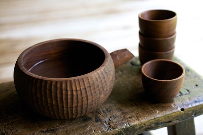 Walnut Sake Set, serving pot with four cups. Christopher Quist Kautz
