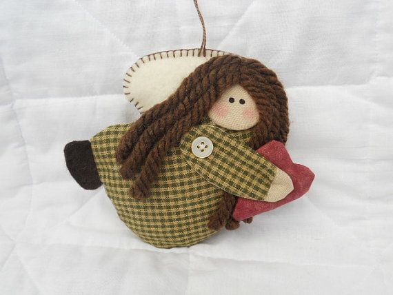Ginger Sweet Angel Ornament  Homespun Angel  by GingerSweetCrafts, $6.50