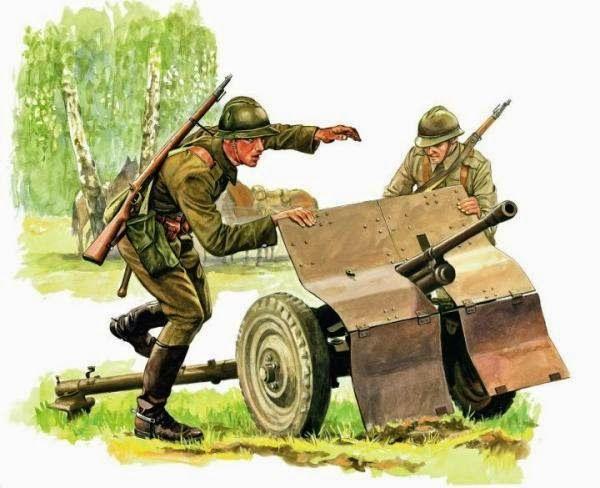"""Ułani z 12. pułku z działkiem ppanc. wz. 36 Bofors kal. 37 mm, w stalowych hełmach typu """"Adrian"""" , uzbrojeni w karabinki Mauser M 98 w wersji kawaleryjskiej"""