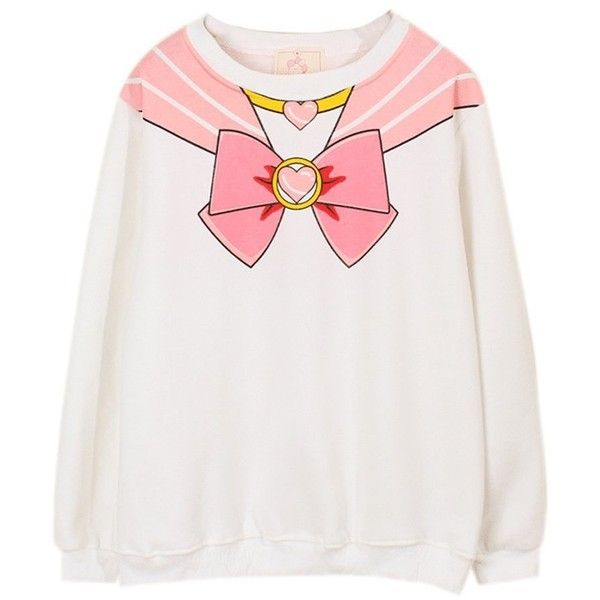Sailor Moon Harajuku Sweater Print Top Cute Kawaii Cosplay Japan Anime ($14) ❤ liked on Polyvore