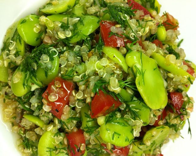 fava beans, quinoa, & tomato salad with dill (made with fresh favas)