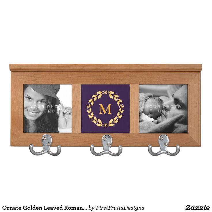 Ornate Golden Leaved Roman Wreath Monogram -Purple Coat Rack
