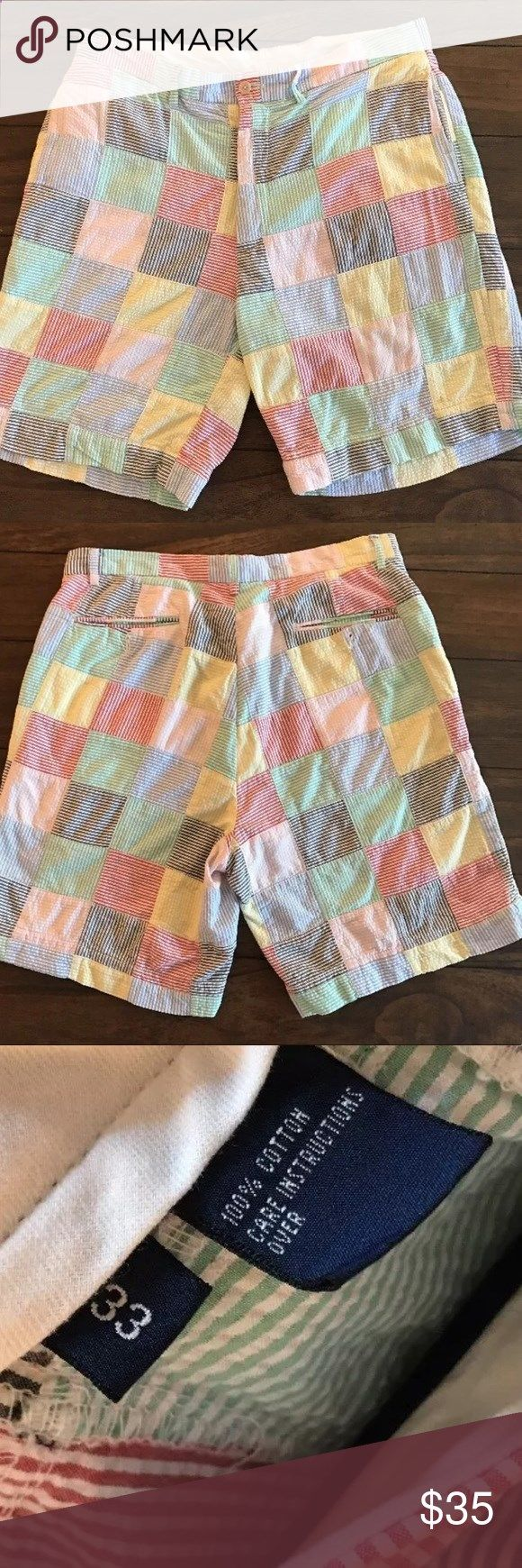 Polo Ralph Lauren Seersucker Plaid Golf Shorts Polo Ralph Lauren Golf plaid seersucker shorts. Waist size 33, inseam: 8.5. Be the preppiest person anywhere! No flaws 💕 Polo by Ralph Lauren Shorts Flat Front