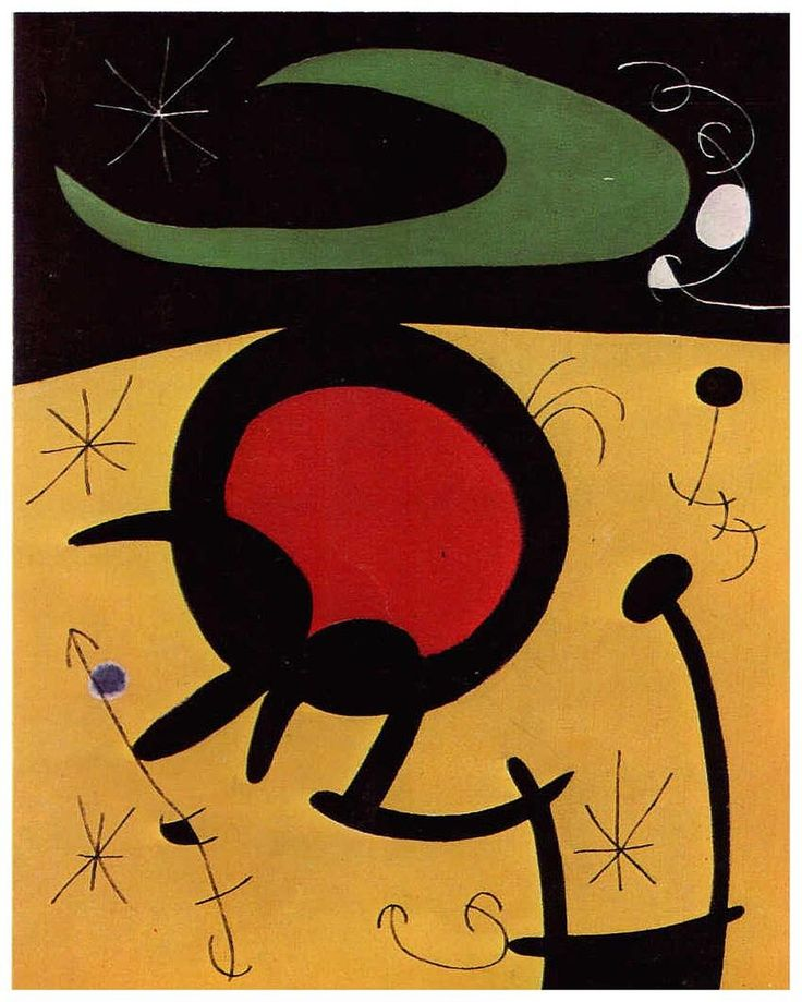 Characters and Birds Party for the Night That Is Approaching - Joan Miró