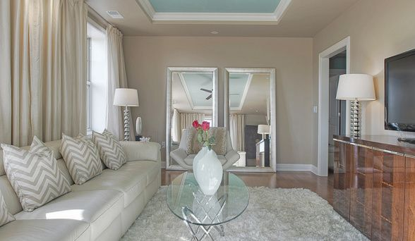 Love the colors: Elegant Glam room paint was Porters Paint, Summer Suede, #415-4 on the walls and Pitter Patter # 301-4 on the ceiling.