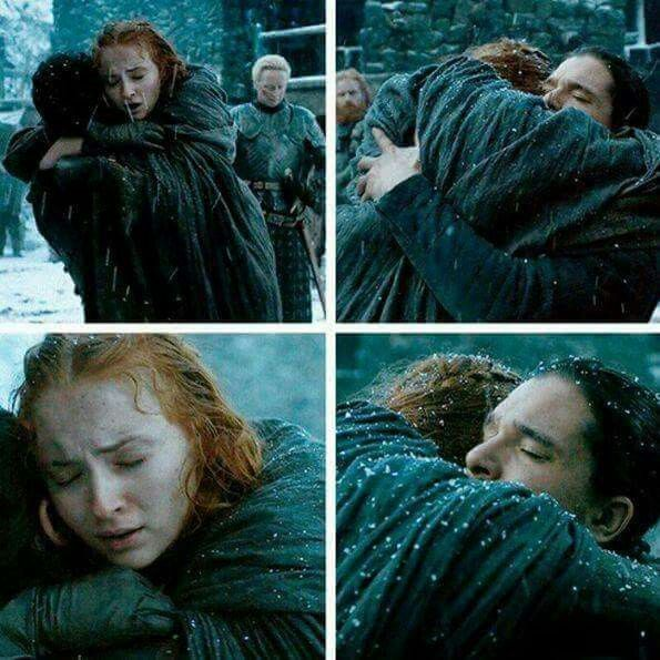 This was my favorite moment from the show. Just the look of relief on Sansa's face when she hugged John. She finally had a piece of her family back.