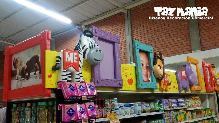 Decoración comercial para góndolas sección bbs, del supermercado Megaredil  Bucaramanga. Proyecto realizado en icopor de alta densidad terminación en 2d, impermeabilizado y con reflejo acrílico. www.tazmaniadisenoydecoracion.com