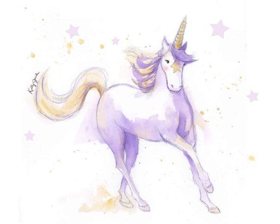 Escape to a place where dreams come true and magic is real with a print of this soft purple unicorn galloping among gold stars. Painted with watery washes of purple with splashes of gold stars, its sure to delight the youngest unicorn lover.  - Archival print on watercolor textured paper - Ready to frame in a standard sized mat and frame - Two sizes available  Its mate - a lively teal unicorn is located here…