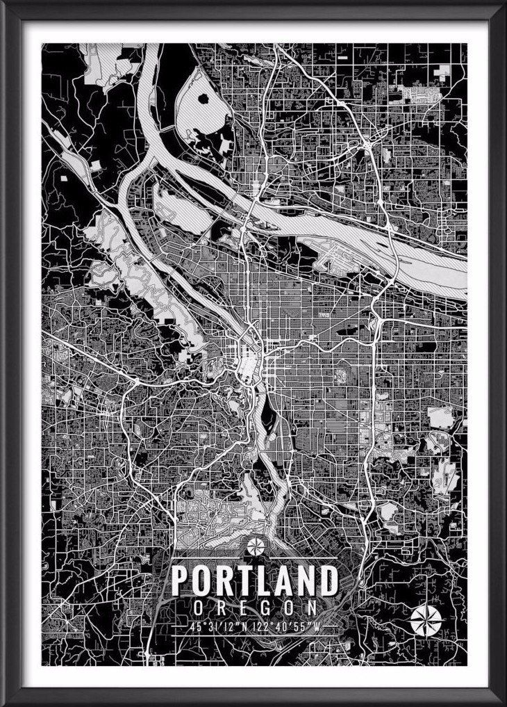Portland Oregon Map with Coordinates | Ideate Create Studio - Ideate Create Studio - 1