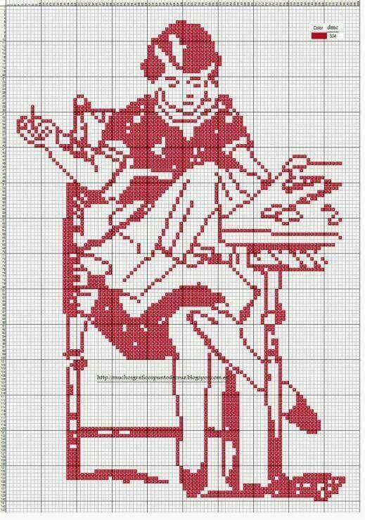 0 point de croix monochrome femme brodant - cross stitch girl embroidering