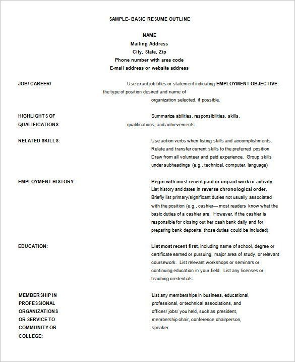 Resume Format Outline ResumeFormat