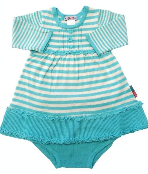 A beautiful little girls Knit striped dress.  Made of soft cotton.  Match this gorgeous dress with 'Bots' tights to make the perfect outfit for your little girl!