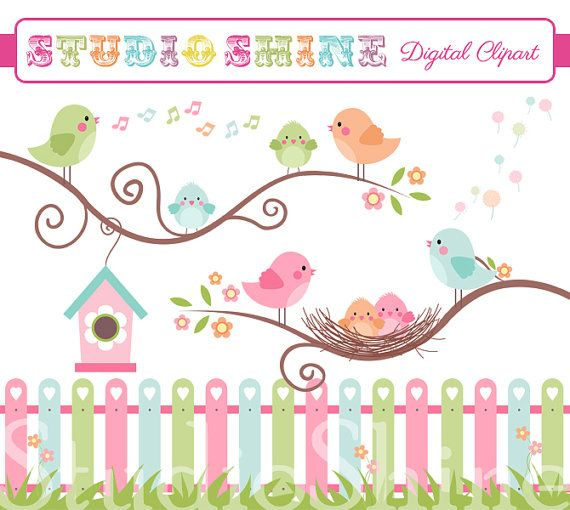 Digital Clipart - The Best Nest - Cute Birds Clip art for scrapbooking, party invitations - Instant Download Clipart Commercial Use