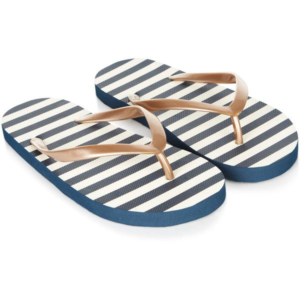 Accessorize Sassy Sailor Stripe EVA Flip Flops ($12) ❤ liked on Polyvore featuring shoes, sandals, flip flops, navy and white striped shoes, nautical shoes, rock shoes, sailor shoes e flat sandals