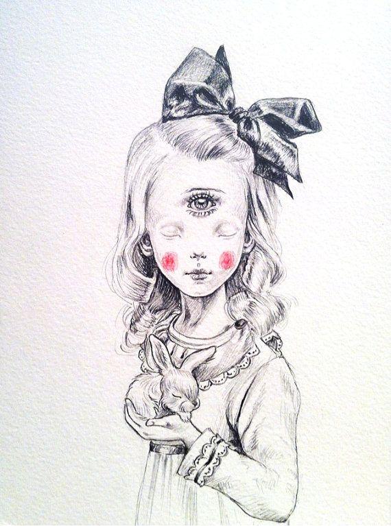 Cyclope Girl original drawing by JulieFilipenko on Etsy