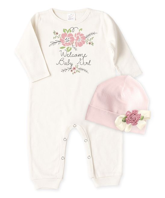 Ivory 'Welcome Baby Girl' Playsuit & Blush Beanie - Infant