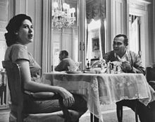 Fulgencio Batista, having breakfast in the Presidential Palace with wife Marta Fernández Miranda, eight months before he fled Cuba and went to Portugal.