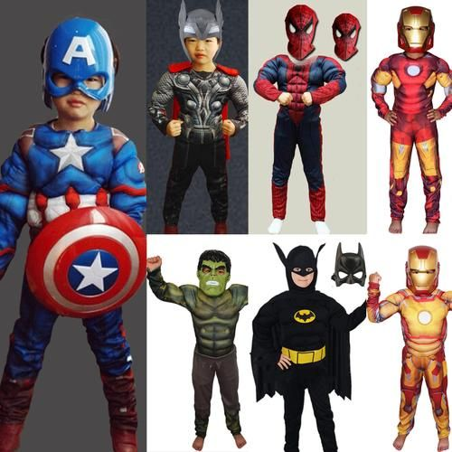 Kid Muscle Costumes - Captain America, Iron Man, Thor, Spider-Man, Batman, Hulk. Taxes and delivery included. Learn more at myscreenaddiction.com