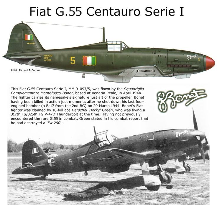 """Fiat G.55 Centauro (Italian: """"Centaur"""") was a single-engine single-seat World War II fighter aircraft used by the Regia Aeronautica and the A.N.R. (Aeronautica Nazionale Repubblicana) in 1943-1945. It was designed and built in Turin by Fiat. The Fiat G.55 was probably the best type produced in Italy during World War II, (a subjective claim also frequently made for the Macchi C.205 Veltro as well as for the Reggiane Re.2005 """"Sagittario"""") but it did not enter production until 1943"""