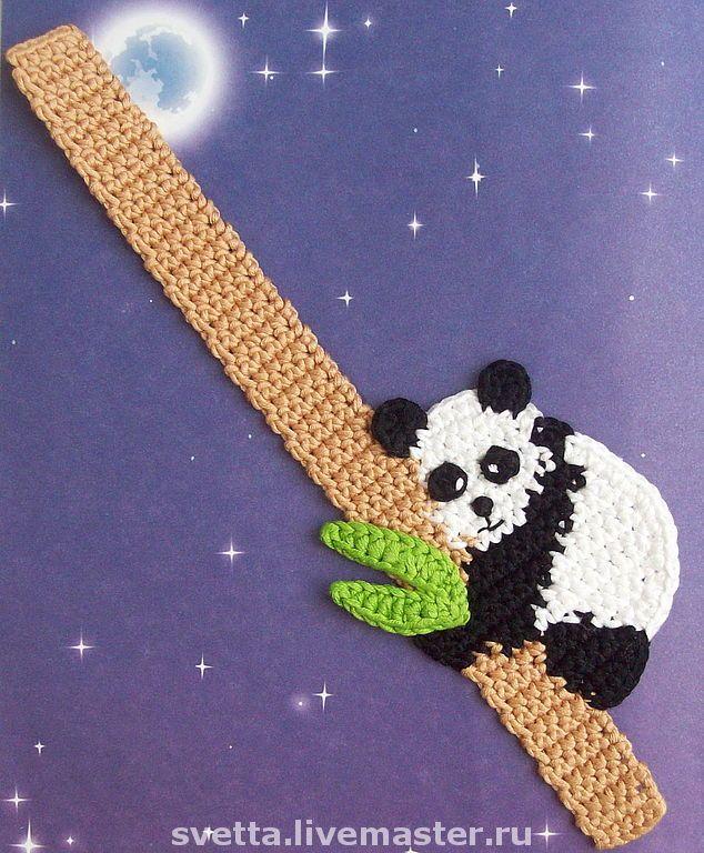"Bookmarks handmade.  Fair Masters - handmade ""Panda"" knitted bookmark.  Handmade."