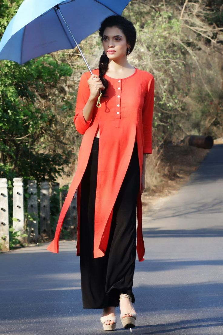 #Lalgulal #Orange Fluidic Linen Slub Fancy #Readymade #Indo-#Western #Kurti Buy Now :- http://goo.gl/tP5YkR To Order you Call or #Whatsapp us on +91-95121-50402. #COD & #FreeShipping Available only in India.