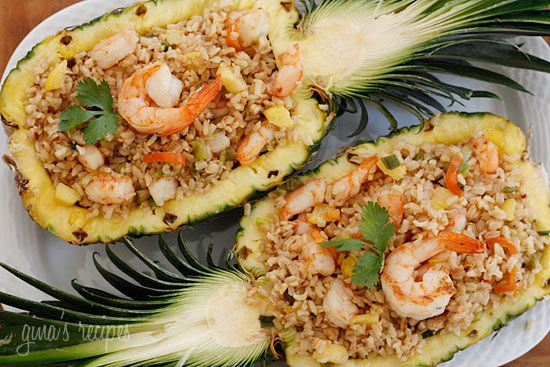 Shrimp w/ Brown Rice in a Pineapple