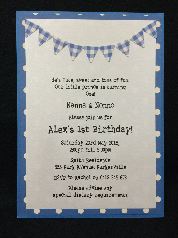 Invitation - Kids Birthday - Blue Polka Dot/Gingham Bunting - Alex