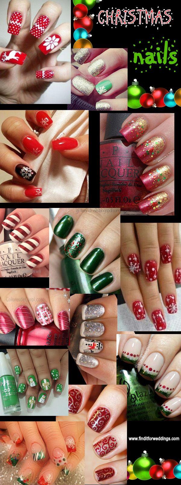 Christmas nail designs Striped nails www.finditforweddings.com Nail Art Snowflake nails