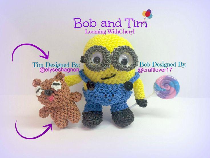 Rainbow Loom TIM, Bob's Teddy Bear - Minion - Loomigurumi. Amigurumi Looming withCheryl