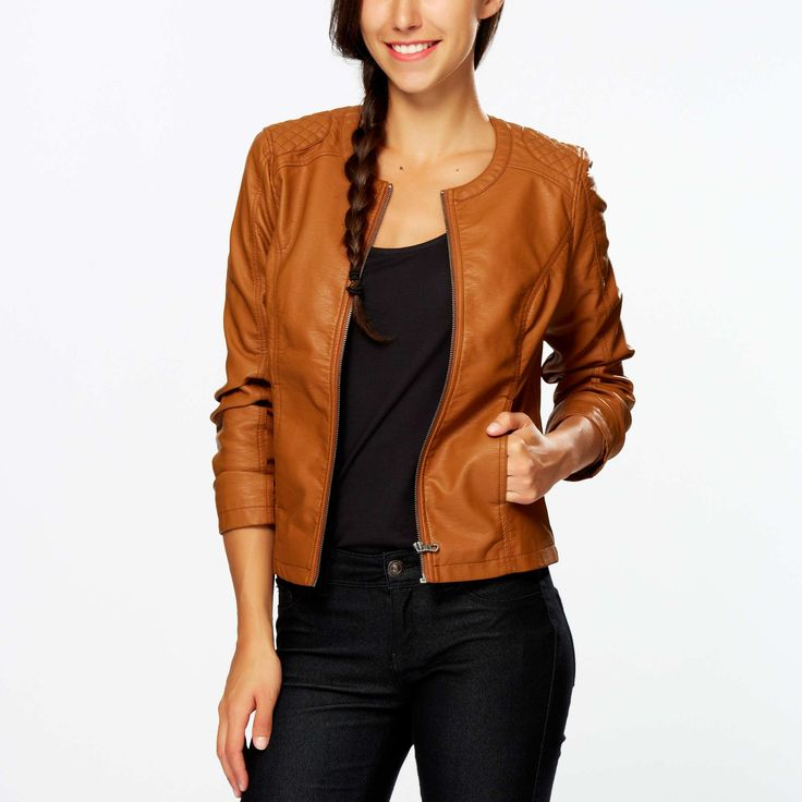 blouson femme simili cuir camel blouson imitation cuir. Black Bedroom Furniture Sets. Home Design Ideas