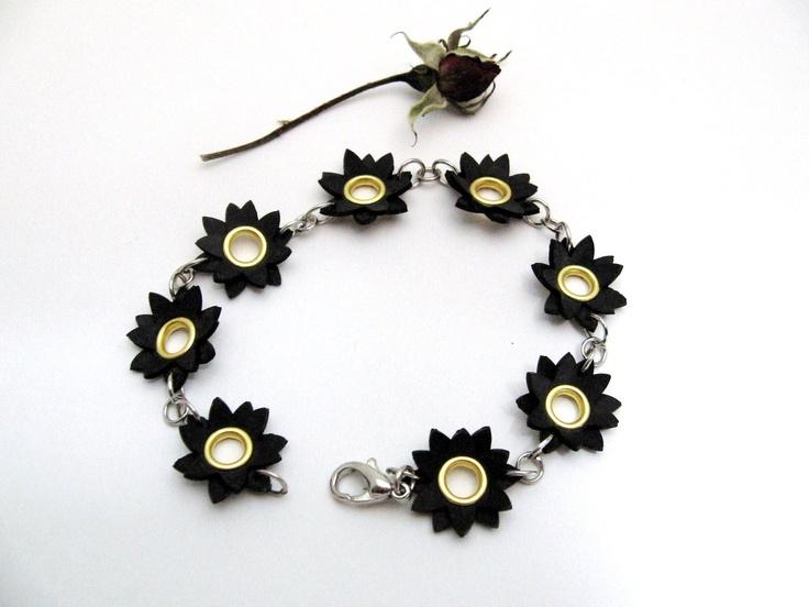 Upcycled inner tube flower bracelet
