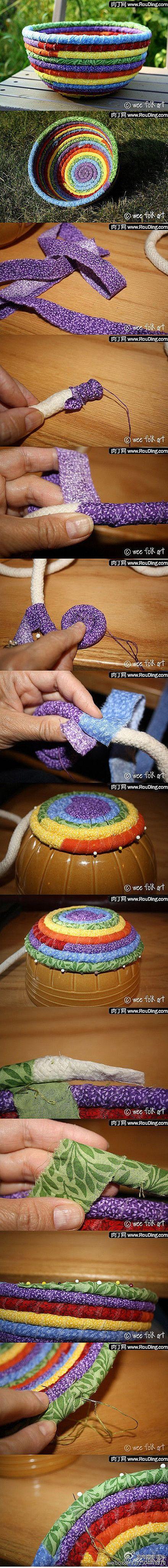 Scrap basketCrafts Ideas, Diy Crafts, Cute Ideas, Fabrics Scrap, Ropes, Fabrics Baskets, Scrap Fabrics, Coil Basket, Fabrics Bowls