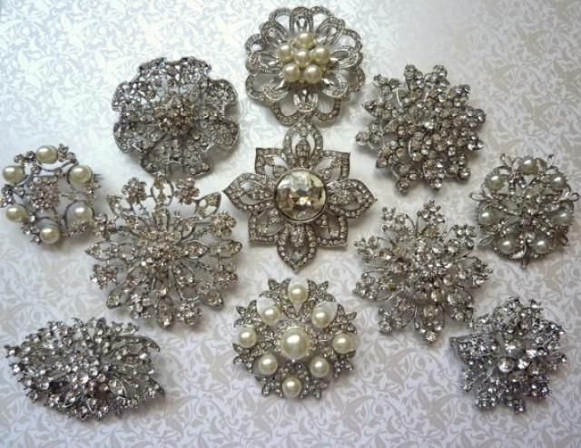 8 pc. Brooch Large Ex-Large Silver Pewter Crystal Rhinestone Brooches Wedding Brooch Bouquet Wedding Invitations Dress Sash
