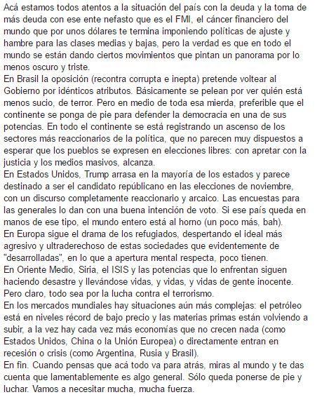 Argentina y el mundo, abril 16