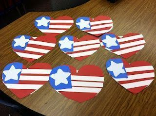 Cute red, white, and blue hearts for kinders to make
