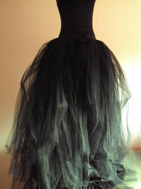 tutu: Steampunk Halloween Black Tulle Skirt Halloween Goth - Dress