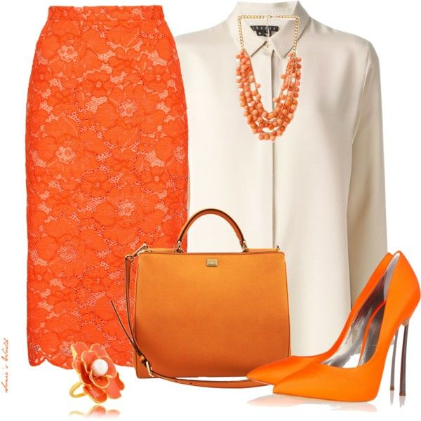 Orange skirt, created by sonies-world on Polyvore