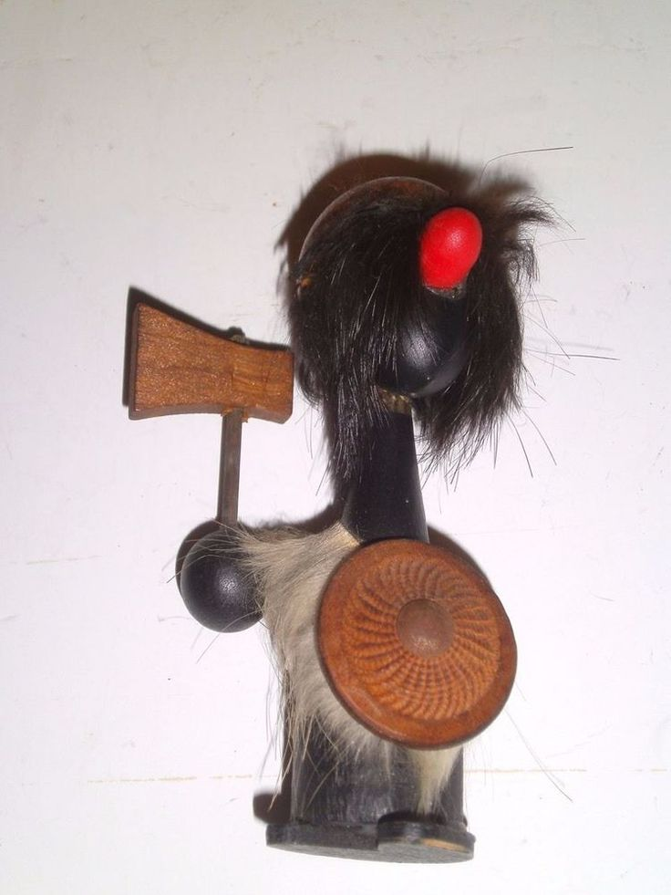 Danish Viking Troll Figurine Gonk Rabbit Fur Body Wood Shield/Ax 1950's-60s RARE