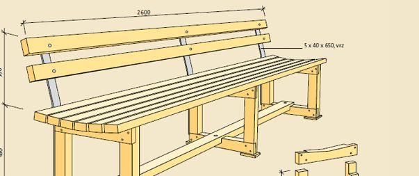 Långbänken kan i princip göras hur lång som helst. Görs den längre än 2600 placeras fler benbockar in, görs den kortare räcker det med två. Endast en dimension används – 45 x 70, hyvlad tryckimpregnerad furu, klass NTR/AB.